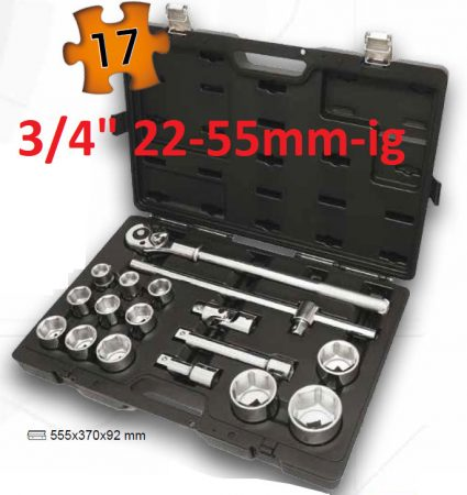 Dugókulcskészlet  22-55mm-ig 17-részes BETA EASY