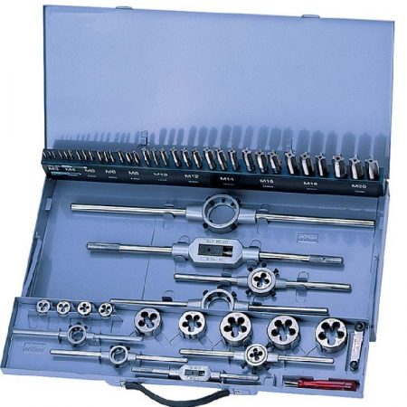 Kézi menetfúró, metsző készlet HSS, M3-M20-ig, hajtóvasakkal 54-részes, Forum Professional Solutions