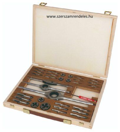 Kézi menetfúró, metsző készlet fa dobozban HSS , M, M3-M12, hajtóvasakkal, BUCOVICE TOOLS